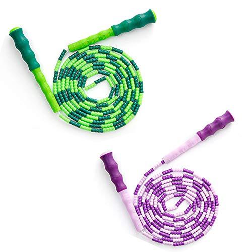 Springseil Kinder 2 Stück Springseil Speed Rope für Kinder,Männer und Frauen, Verstellbares weiches Perlen-Springseil,Fitness Springseil für das leichte Training, Gewichtsabnahme, Ausdauertraining
