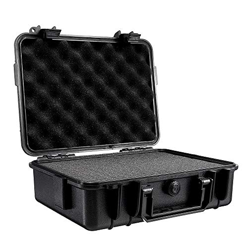 ChenYongPing Portable Waterproof Camera Backpack Waterproof Hard Carry Camera Lens Photography Tool Case Bag Storage Box With Sponge 275x210x90mm (Color : Black, Size : One size)