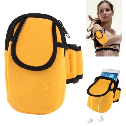 Rocina nylon sportarmband voor Samsung smartphones in geel met extra vak - ideaal voor joggen, wandelen, hardlopen