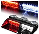 LED Emergency Waning Light XTAUTO 16 LED High Intensity Windshield Hazard Warning Flashing Strobe Law Enforcement Interior Roof Dash Windshield Lamp Lights with Suction Cups for Car Truck Red White