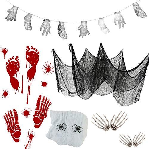YUESEN Decoraciones de Halloween telaraña Estirable Cuchillos sangrientos pies manos colgantes estandarte esqueleto y pegatinas de pared de Halloween para la casa encantada decoración