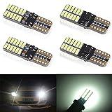 4 unids T10 W5W 168 194 501 LED Bulbs 24 leds 4014SMD Super Bright Blanco Canbus no error Bombillas de cuña Luces de posición Placa de la lámpara del coche Juego Interior del coche 5W 12V 6001k