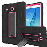 Samsung Galaxy Tab E 9.6 Case, Sanhezhong Three Layer Hybrid Rugged Heavy Duty Shockproof Anti-Slip Case Full Body Protection Cover for Tab E Nook 9.6 inch(SM-T560) Black/Rose