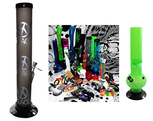 Budawi® - Headshop Set Junior XL- Wundertüte doppel Acrylbong, Chillum, Steckköpfe, Grinder, Pur-Pfeife, Papers, Mystery-Boxen, Percolator, ActiTube, Schmand-Weg, OCB …