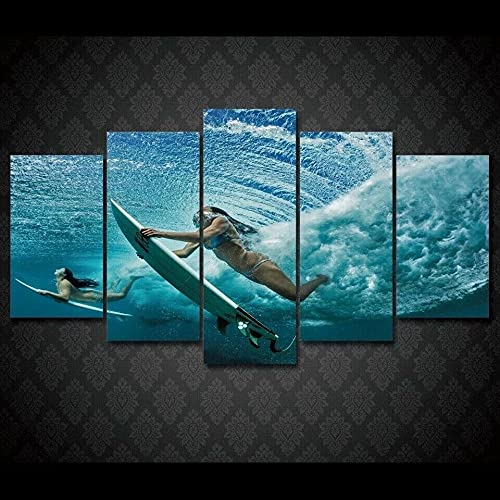 ARIE Mural Moderno 5 Piezas Niñas, Surf Art Imagen para Decoración del Hogar 5 Piezas Pinturas Moderna Enmarcado Arte