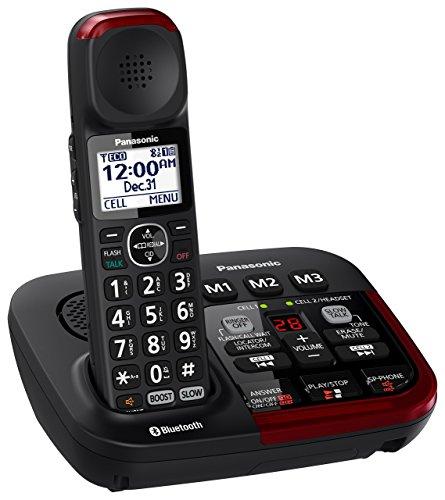 Panasonic KX-TGM430B Link2Cell Bluetooth Amplified Cordless Phone with Answering Machine, 1 Handset , Black (Renewed)