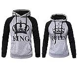 Womens Couple Sweatshirt Hoodie Casual King Queen Sweatshirts Pullover