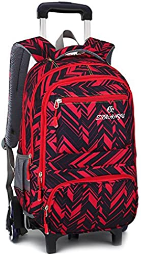 LGBEIBAOX Studengts Polyester Nylon Trolley Tasche Doppelter Schulter Rucksack Handzug Box, rot