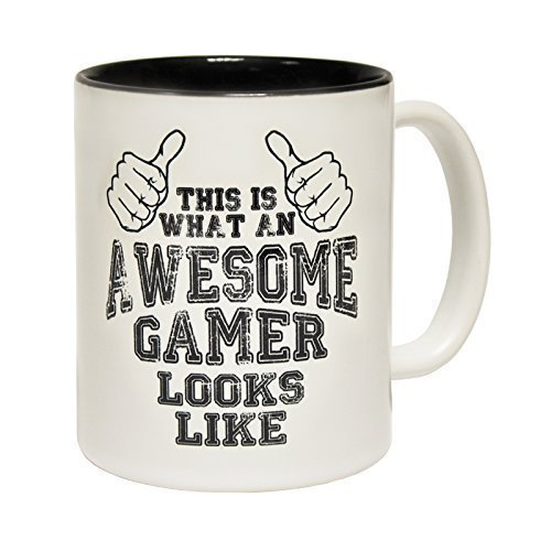 123t Mugs THIS IS WHAT AN AWESOME GAMER LOOKS LIKE Ceramic Slogan Cup With Black Interior birthday funny gift for him her - BOXED novelty (Kitchen & Home)