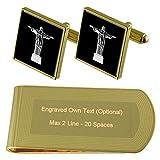 Select Gifts Cristo Redentor de Tono Oro Gemelos Money Clip Grabado Set de Regalo