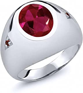5.08 Ct Oval Red Created Ruby and Red Garnet 925 Sterling Silver Men's Ring (Available 7,8,9,10,11,12,13)