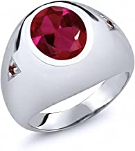 Gem Stone King 5.08 Ct Oval Red Created Ruby and Red Garnet 925 Sterling Silver Men's Ring (Available 7,8,9,10,11,12,13)