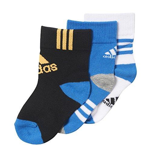 adidas Jungen Knöchelsocken, 3 Paar-weiß, White/Shoblu/Black, 15-18