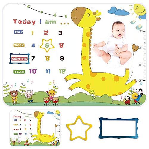Manta de Milestone de Bebé – 57 x 39 pulgadas – Manta de fondo de fotografía de franela – Edredón semanal mensual nuevo nacimiento – Regalo de Baby Shower cumpleaños