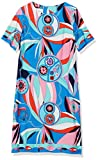 Donna Morgan Women's Short Sleeve Printed Jersey Shift Dress, Coral/Aqua, 0