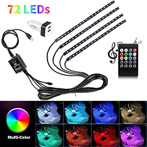 Éclairage intérieur de voiture 72 LED USB Multicolore Neon 8 couleurs de lumière étanche avec télécommande sans fil, chargeur de voiture inclus