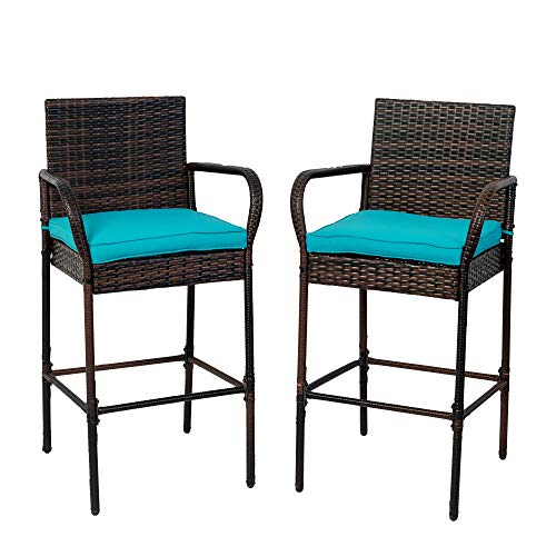 Sundale Outdoor Bar Stools Set of 2, 2 Piece Wicker Bar Stools Rattan Chairs, Patio Bar Chair with Arms, Cushion Blue, All-Weather Wicker Patio Furniture - Steel, Brown