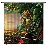 Tropischer Dschungel Landschaft Duschvorhänge Badezimmer Dekor Wildes Tier Hirsch Papagei Tukan Leopard Home Badewanne Polyester Vorhang-18_90x180cm