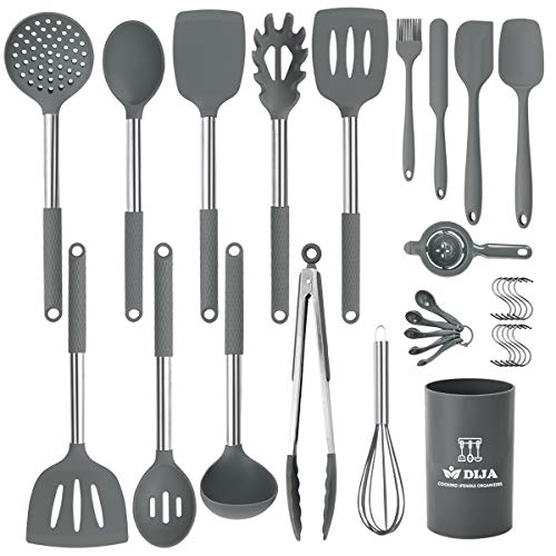 Silicone Cooking Utensils Set, Kitchen Utensils 31pcs Cooking Utensils Set, Heat Resistant Non-stick Silicone Kitchen Spatula Set with Stainless Steel Handle - Gray (BPA Free, Non Toxic)