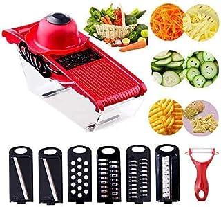 Mandoline De Cuisine Professionnelle Multifonctions- 6 en 1 Coupe Trancheur de Légumes Manuel avec récipient alimentaire (...