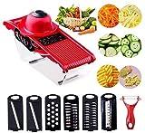 Cortador de verduras mandolina Slicer Veggie Chopper Slicer Cortador Rallador con contenedor de alimentos 6 cuchillas