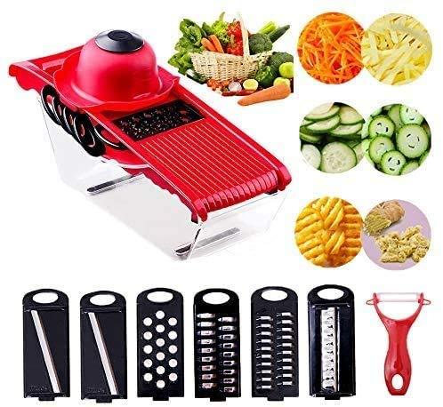 Cortador de verduras para mandolina cortador de verduras con contenedor de alimentos 6 cuchillas (rojo)