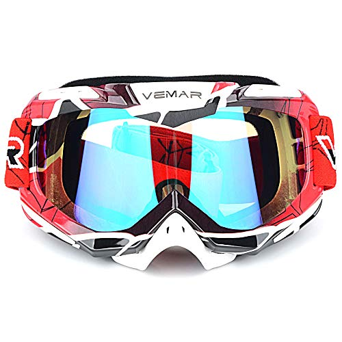 Motorcycle Motocross Goggles ATV Racing Goggles Dirt Bike Tactical Riding Motorbike Goggle Glasses, Bendable Windproof Dustproof Scratch Resistant Protective Safety Glasses (Red)