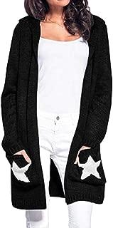 Women Open Front Hoodies Cardigans Stars Sweater Knitwear Coat