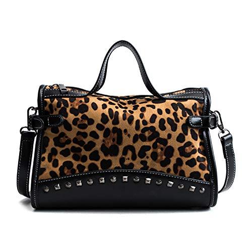 NOTAG Damen Handtasche, PU Leder Top Griff Matte Niet Schultertasche Retro Henkeltasche mit Abnehmbarem Schultergurt (Leopard-Druck)