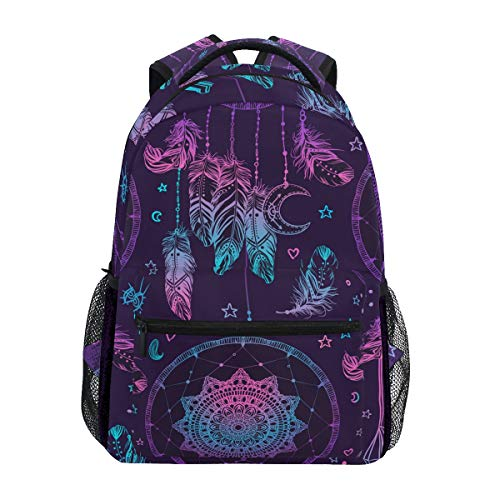 WIHVE School Backpack Dream Catcher with Feathers and Moon Tribal Style College Book Bag Travel Rucksack