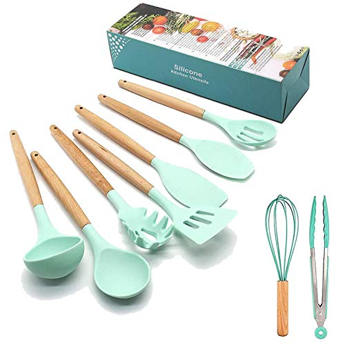 Henzin set di utensili da cucina, 9pezzi in silicone utensili da cucina spatola set di utensili, senza BPA, non tossico Turner Tongs Spatula set–Great Kitchen Tools for Gift