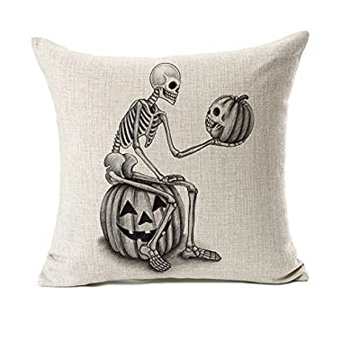 Halloween Skull and Pumpkin Throw Pillow Case Cushion Cover Decor Cotton Linen 18  x 18