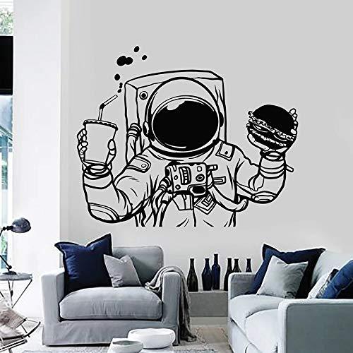 Tianpengyuanshuai Fotobehang Astronaut Space Burger drank Fast Food Vinyl raamsticker kinderkamer creatieve muurschildering