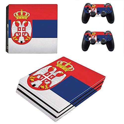 Kompatibel für Playstation 4 Pro Serbien Design PS4 Skin Schutzfolie Faceplate Aufkleber Sticker Cover Folie SET für Konsole + 2 Controller Skins ( Herstellung in Deutschland )
