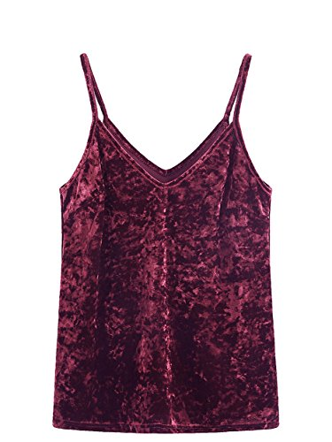 SheIn Women's Casual Basic Strappy Velvet V Neck Cami Tank Top Small Mulberry