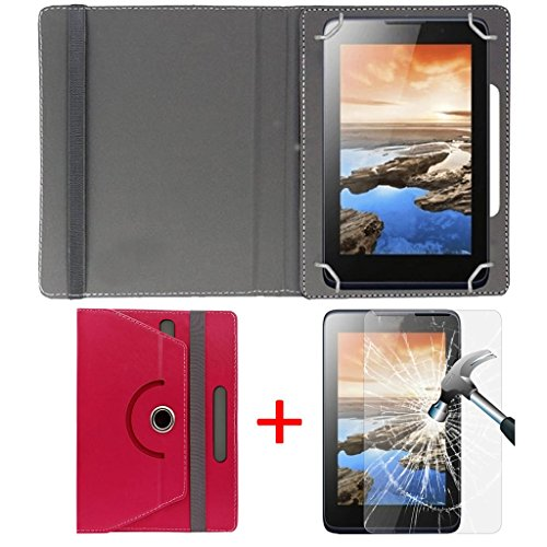 """Hello Zone Exclusive 360° Rotating 8"""" Inch Flip Case Cover + Free Tempered Glass for LG G Pad III 8.0 -Pink"""