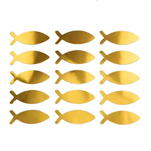 Oblique-Unique® Fisch Sticker Gold Glänzend 15 STK. selbstklebend Aufkleber für Taufe Kommunion Konfirmation Deko