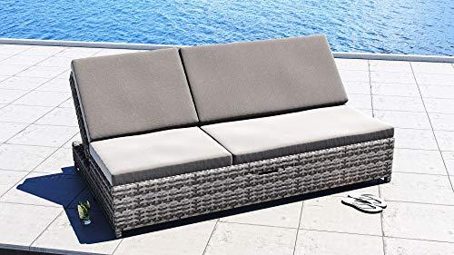 ARTELIA Sky Doppelliege Polyrattan Gartenliege - Sonnenliege und Bank für Garten, Terrasse und Balkon, Relaxliege schwarz