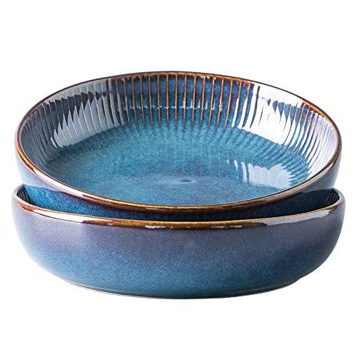 GYLFDC Pastateller aus Keramik, Groß Suppenteller Oder Speiseteller, Premium Porzellan 21cm Blau(2PCS)