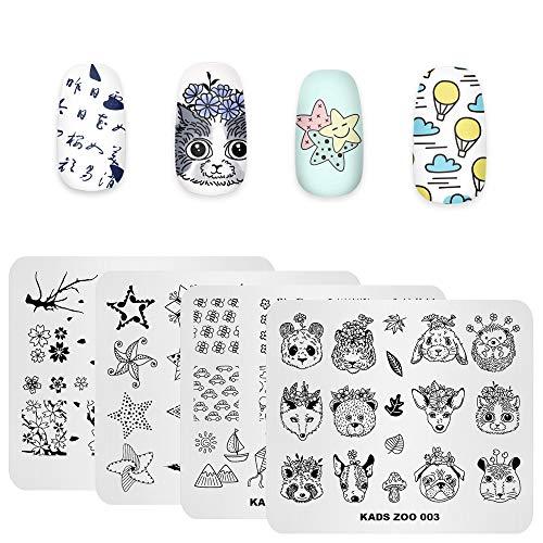 Rolabling 4 pcs Nail Art Stamping Plates Set Star Panda Animal Flower Pattern Image Plate Manicure Template DIY Tool
