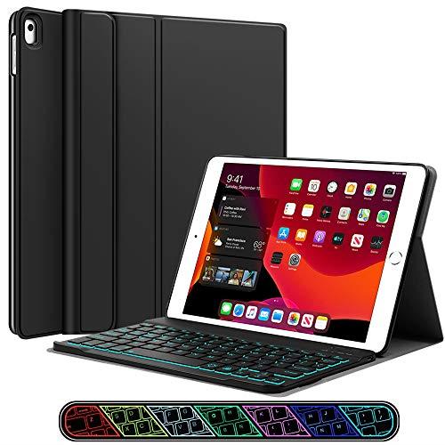 Funda para iPad 4 de 7ª generación con teclado – XIWMIX 7 colores retroiluminados Slim desmontable inteligente teclado magnético inalámbrico para iPad 10.2' 2019/iPad 10.5' 2020/iPad Air 10.5 3ª generación 2019