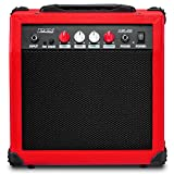 LyxPro Electric Guitar Amp 20 Watt Amplifier Built In Speaker Headphone Jack And Aux Input Includes Gain Bass Treble Volume And Grind - Red