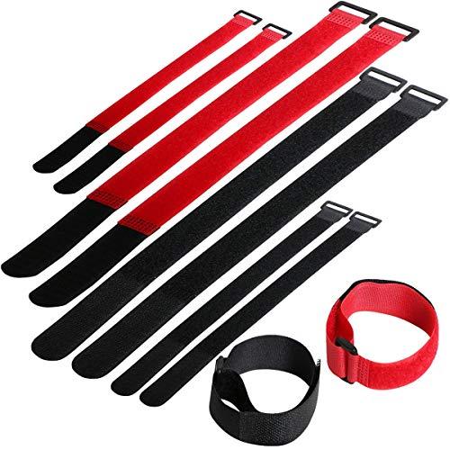 Osuter 40PCS Ataduras de Cable Cable Ties Reutilizables para Organizar Cables Oficina Familia(negro y rojo)