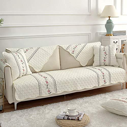 Homeen Sala Sofa Cover,Couch Coat,Fundas de sofá de Estilo campestre, Funda de sofá Antideslizante Bordada, Protector de cojín de sofá de Tela de algodón, Funda Universal para Muebles-Borde Gris_Los