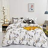 karever White Marble Bedding Set Queen Cotton Dark Clouds Duvet Cover Sets Full Geometric Gold Triangle Comforter Cover for Teens Women Men(No Insert)