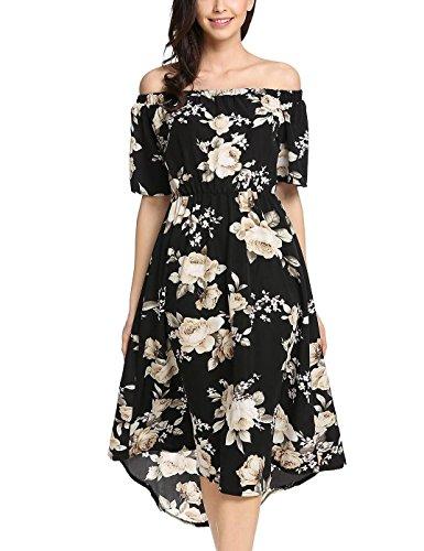 Meaneor - Vestito da donna estivo casual con spalle scoperte a pieghe, linea A Swing Floreale, taglia XL, colore: nero