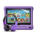 Fire HD 8 Kids-Tablet (violette kindgerechte Hülle) + BuddyPhones PlayTime-Bluetooth-Headset (violett, Altersklasse: 3-7 Jahre) + NuPro-Bildschirmschutzfolie (2er-Pack)