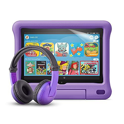 Fire HD 8 Kids-Tablet (violette kindgerechte Hülle) + BuddyPhones PlayTime-Bluetooth-Headset (violett, Altersklasse: 3-7 Jahre) + NuPro-Displayschutzfolie (2er-Pack)