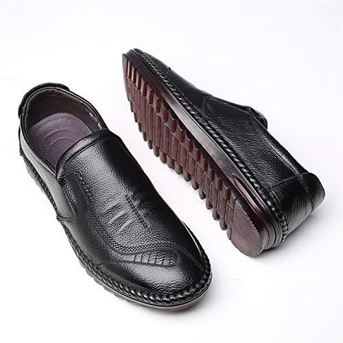 L-YIN Zapatos de Deslizamiento Casual para Hombres Toe Redondo Stitching Lados Guisas Elásticos Suela de Goma Flexible Suela Plana Lobo de Cuero Negro (Color : Black, Size : 38 EU)