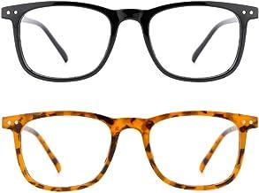 TIJN Blue Light Filter Glasses 2 Pack Square Lightweight Computer Eyeglasses Frame for Women Men Anti Eyestrain
